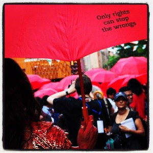 'Only rights can stop the wrongs.' Credits: Dale Kongmont, APNSW